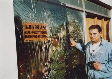 shattered glass after bomb explosion