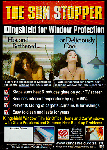 sun control window tinting leaflet from Klingshield